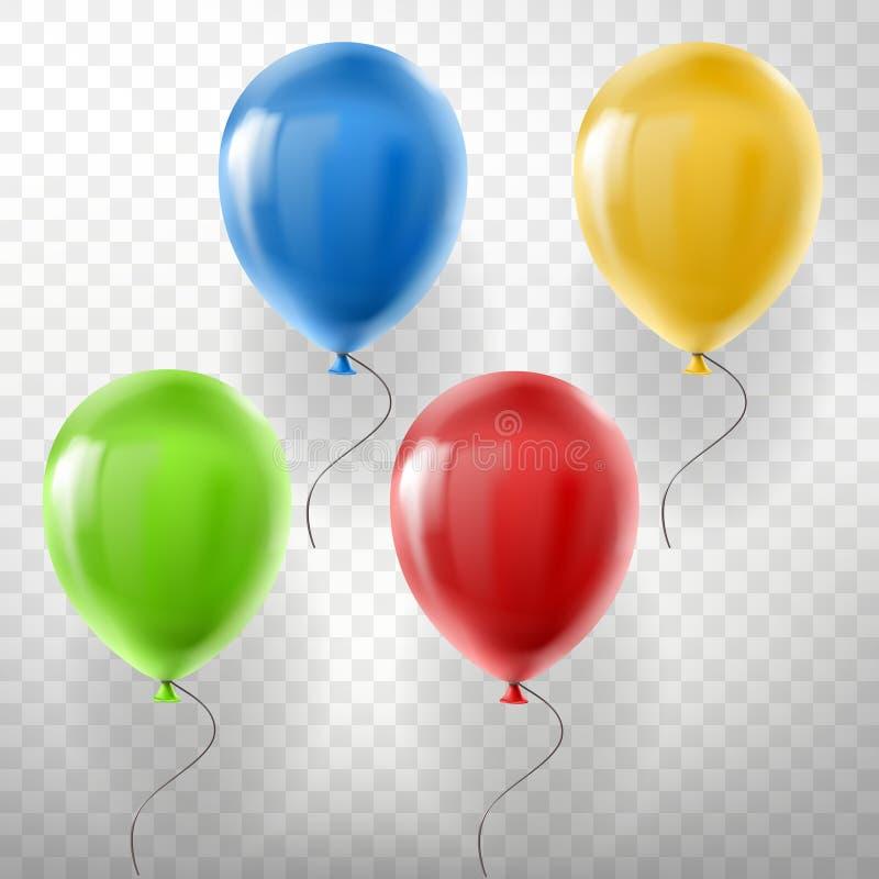 Vektoruppsättning av att flyga mångfärgade heliumballonger vektor illustrationer