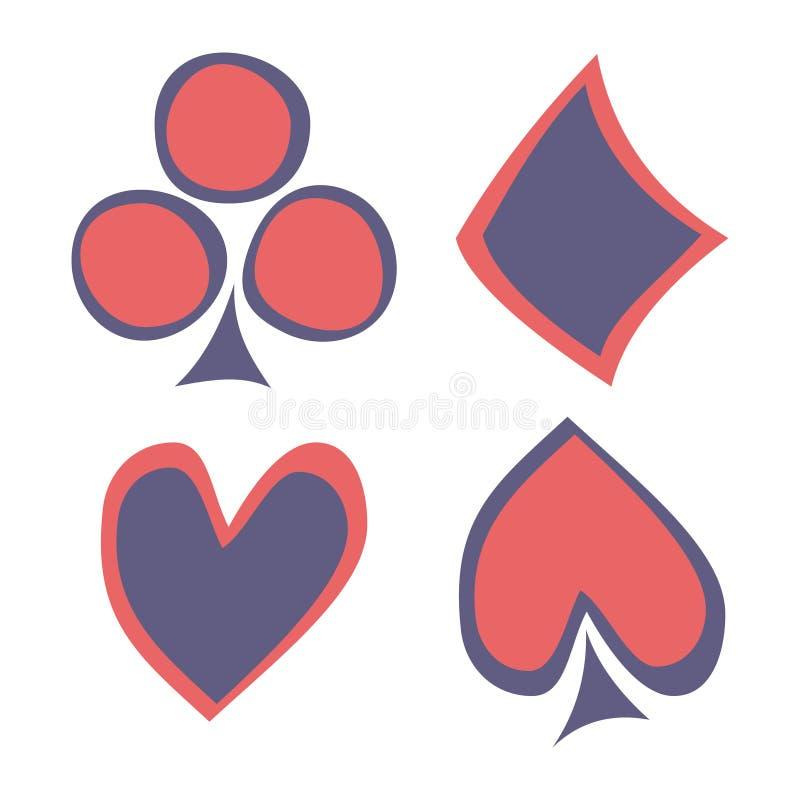 Vektoruppsättning av att spela kortsymboler Hand drog blåa och röda symboler som isoleras på bakgrunderna royaltyfri illustrationer