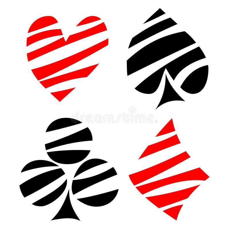 Vektoruppsättning av att spela kortsymboler Räcka utdragen dekorativ svart och röda fodrade symboler som isoleras på bakgrunderna royaltyfri illustrationer