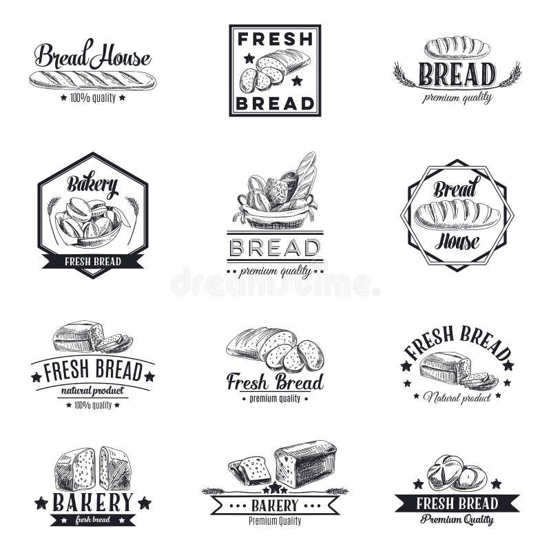 Vektoruppsättning av bageri- och brödlogoer, etiketter royaltyfri illustrationer