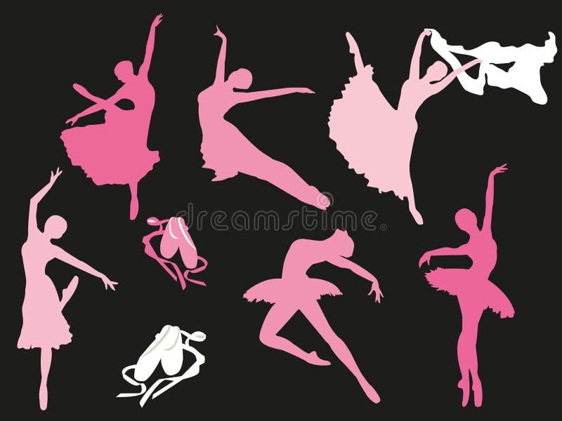 Vektoruppsättning av balettdansörkonturer stock illustrationer