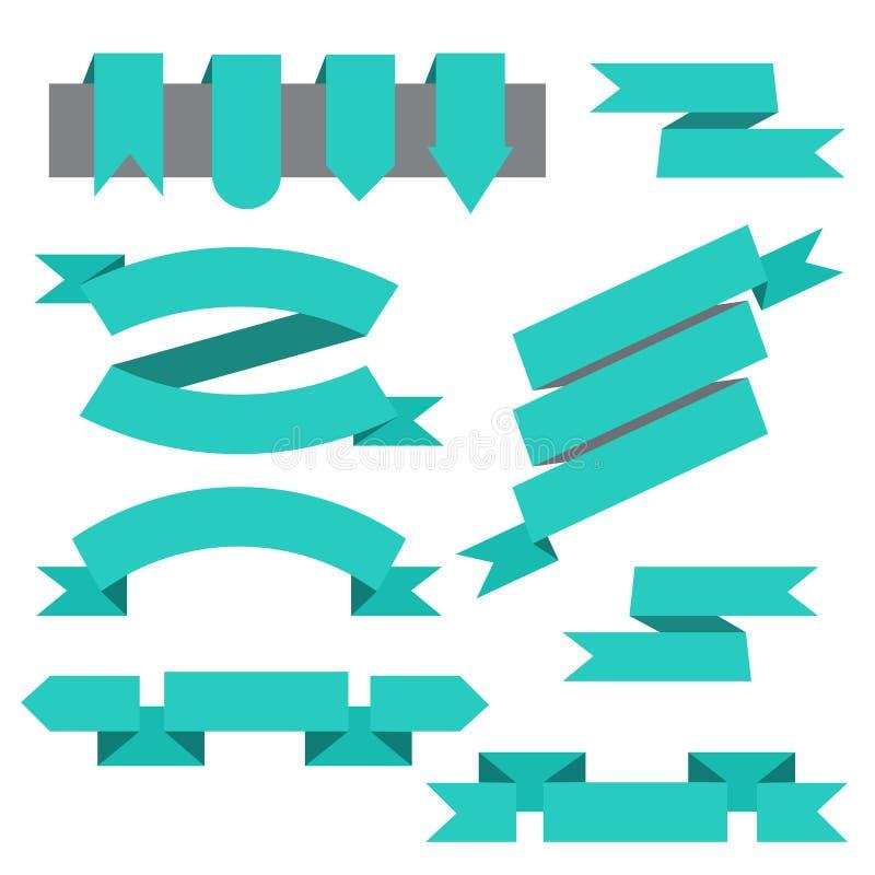 Vektoruppsättning av band, bokmärker i plan stil vektor illustrationer