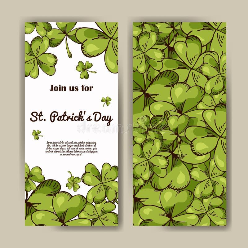 Vektoruppsättning av baner för dag för St Patrick ` s Illustrationen med den drog handen skissar vektor illustrationer