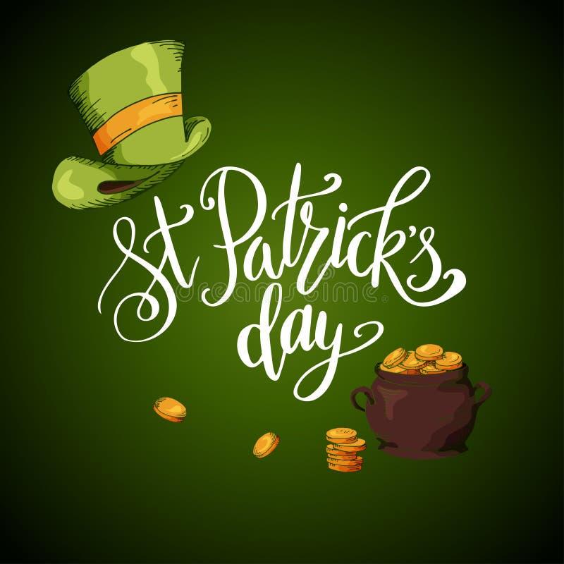 Vektoruppsättning av baner för dag för St Patrick ` s Illustrationen med den drog handen skissar royaltyfri illustrationer