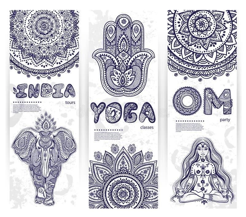 Vektoruppsättning av baner med person som tillhör en etnisk minoritet- och yogasymboler royaltyfri illustrationer