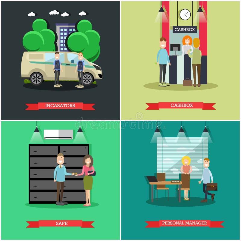 Vektoruppsättning av bankbegreppsaffischer i plan stil stock illustrationer