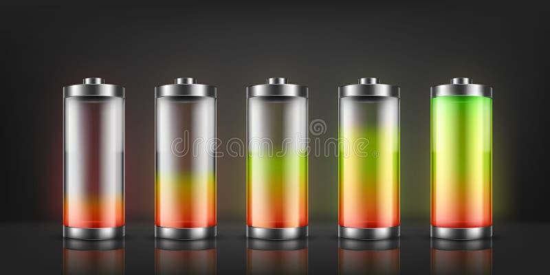 Vektoruppsättning av batteriladdningsindikatorer vektor illustrationer
