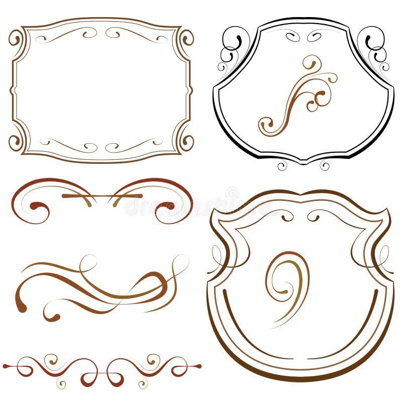 Vektoruppsättning av beståndsdelar för design borders dekorativa ramar royaltyfri illustrationer
