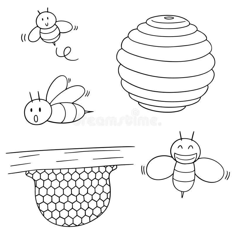 Vektoruppsättning av biet och honungskakan vektor illustrationer
