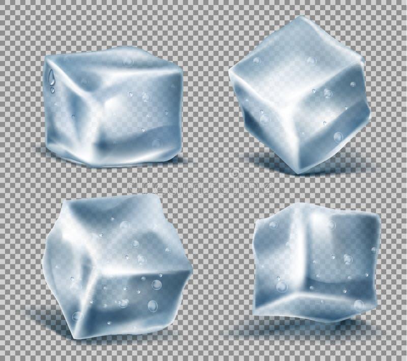 Vektoruppsättning av blåa iskuber, fryste iskalla kvarter royaltyfri illustrationer