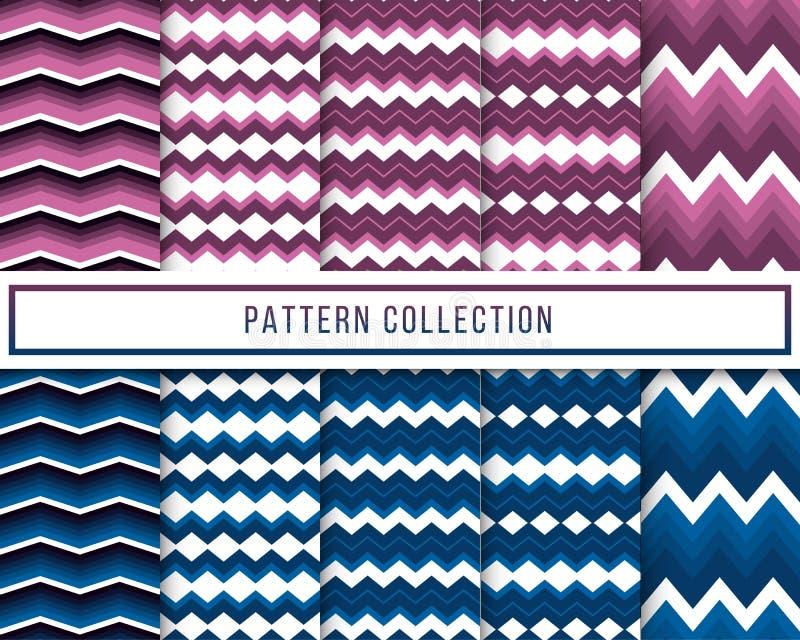 Vektoruppsättning av blåa 10 och sömlös modell för purpurfärgad retro tappningsparresicksack för tapeten, tyg som slår in, textil stock illustrationer