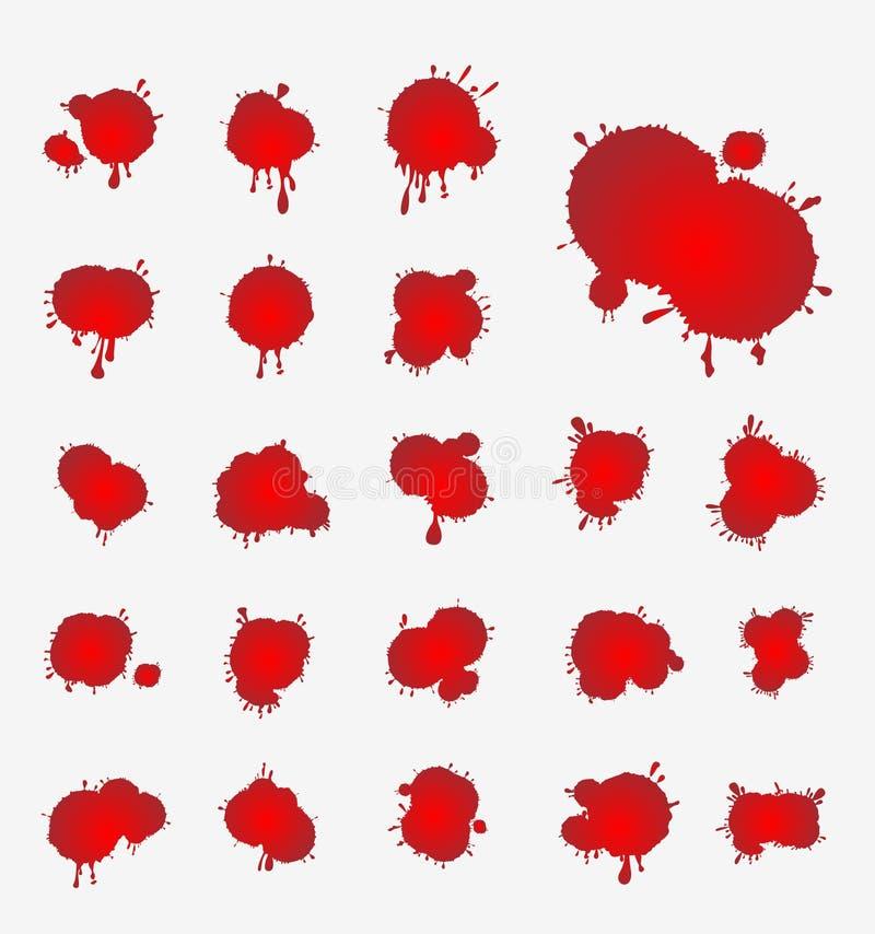 Vektoruppsättning av blodfläckar vektor illustrationer