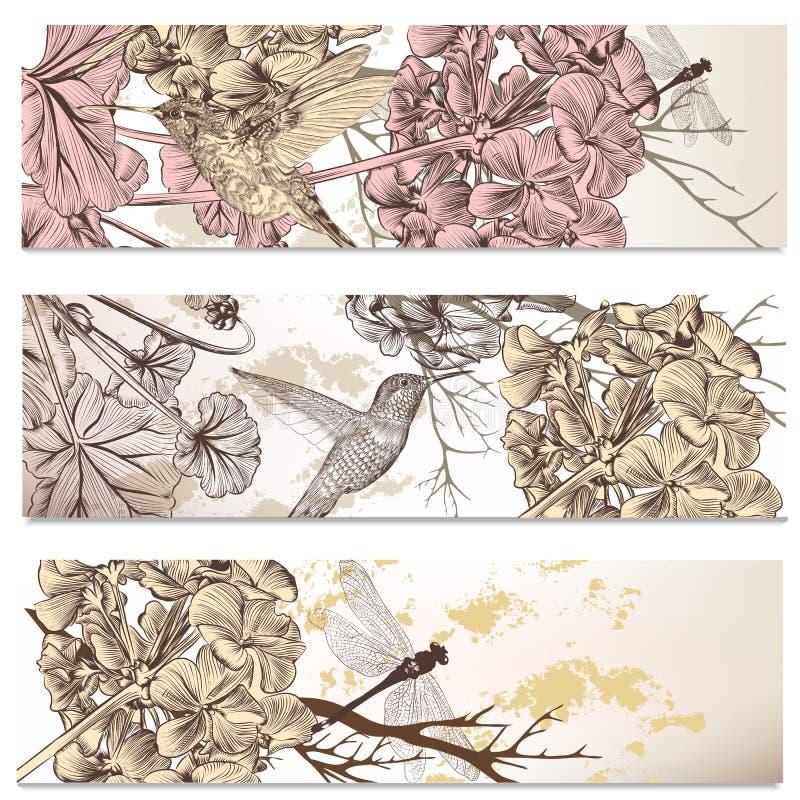 Vektoruppsättning av blom- bakgrunder med fåglar och blommor stock illustrationer