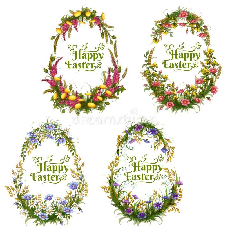 Vektoruppsättning av blom- färgägg för påsk vektor illustrationer