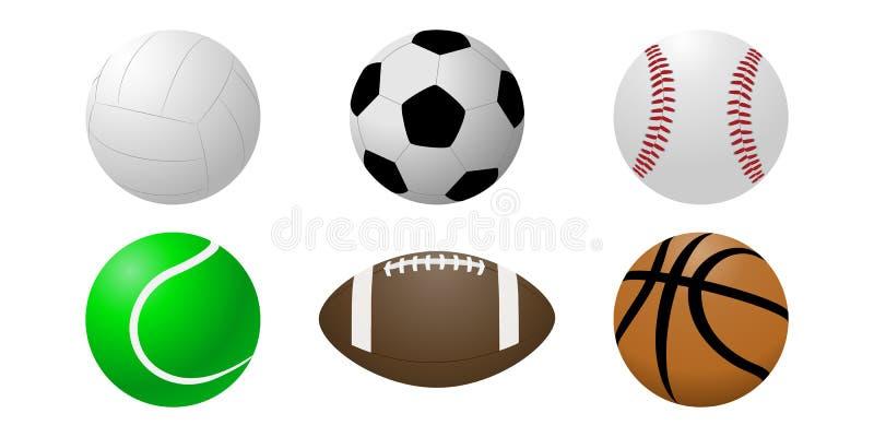 Vektoruppsättning av bollar på en vit bakgrund stock illustrationer