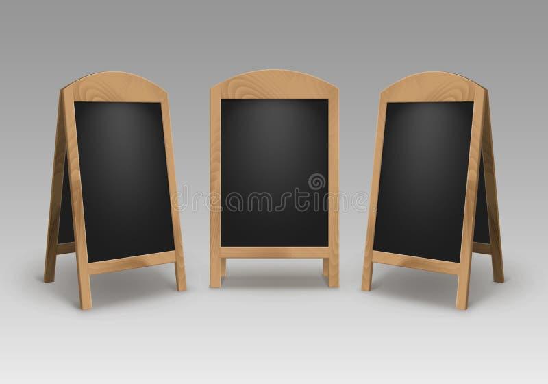 Vektoruppsättning av bräden för meny för trätomt tomt för advertizinggatasmörgås för ställningar tecken för trottoar svarta vektor illustrationer