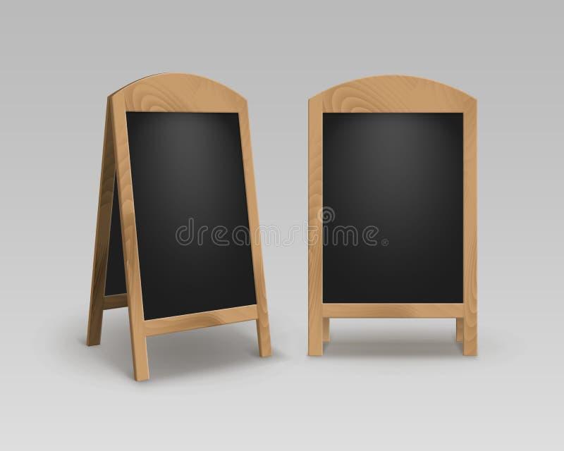 Vektoruppsättning av bräden för meny för trätomt tomt för advertizinggatasmörgås för ställningar tecken för trottoar svarta stock illustrationer
