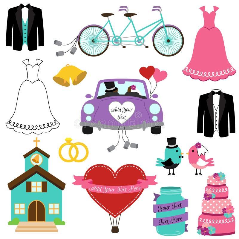 Vektoruppsättning av bröllop och brud- Themed bilder vektor illustrationer