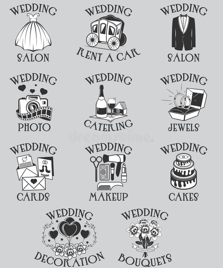 Vektoruppsättning av brölloppictograms Svarta symboler för översiktsförbindelseberöm och isolerade symboler för webbplatsdesign o stock illustrationer
