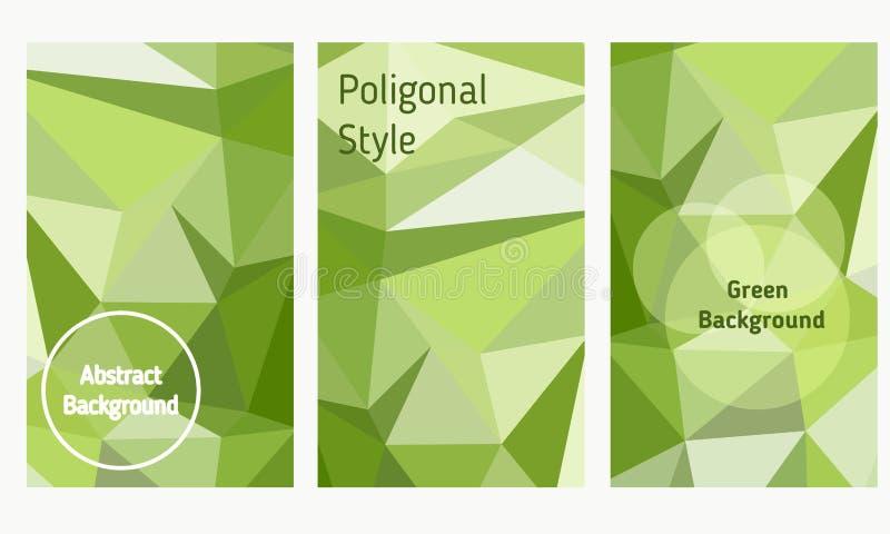 Vektoruppsättning av broschyrer och reklamblad i polygonal stil stock illustrationer