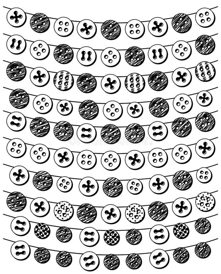 Vektoruppsättning av Bunting för klotterstilknapp stock illustrationer
