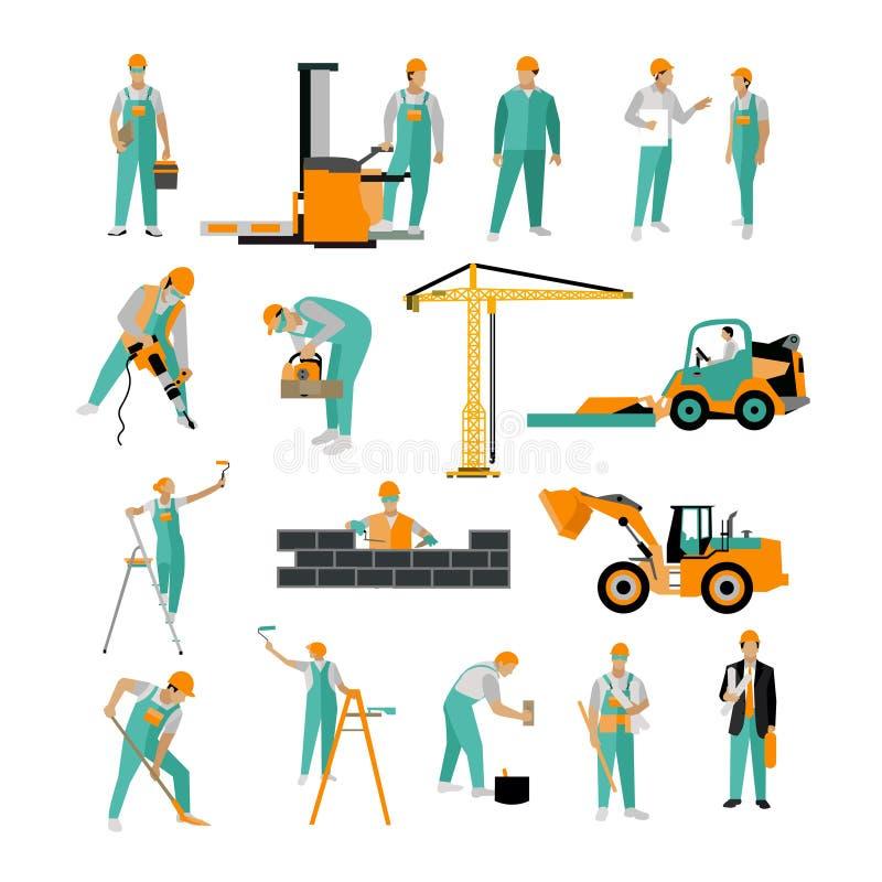 Vektoruppsättning av byggnadsarbetare som isoleras på vit Folkarbete Symboler i plan stil stock illustrationer