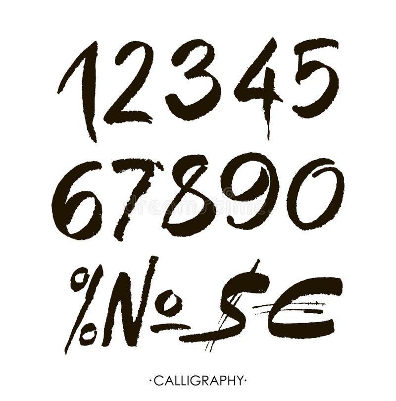 Vektoruppsättning av calligraphic akryl- eller färgpulvernummer vektor illustrationer