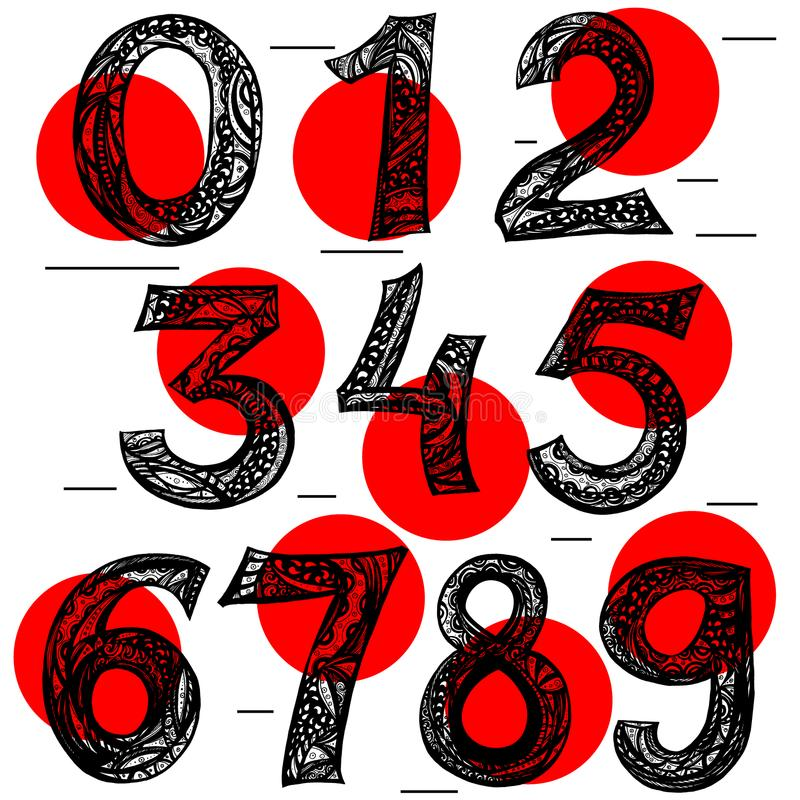 Vektoruppsättning av calligraphic akryl- eller färgpulvernummer abc för din design, royaltyfri illustrationer