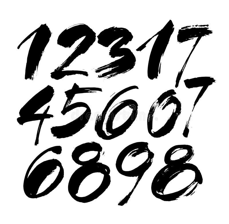 Vektoruppsättning av calligraphic akryl- eller färgpulvernummer, borstebokstäver stock illustrationer