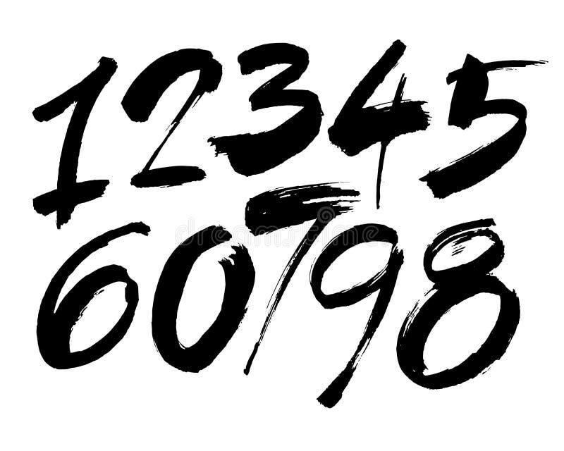 Vektoruppsättning av calligraphic akryl- eller färgpulvernummer, borstebokstäver royaltyfri illustrationer