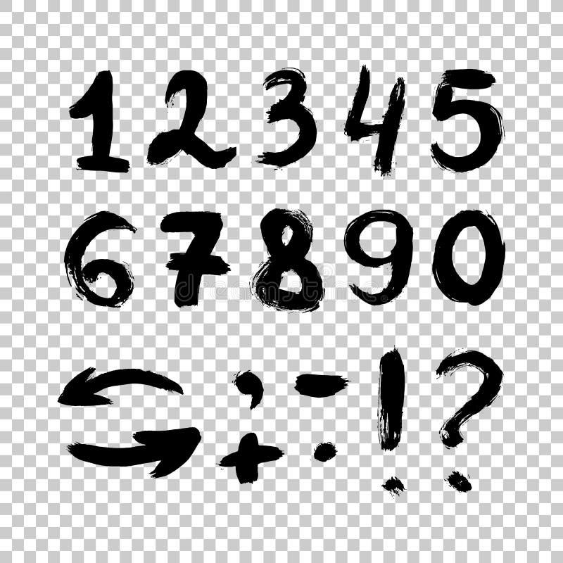 Vektoruppsättning av calligraphic akryl- eller färgpulvernummer Borstebokstäver Handskrivna nummer - hand som dras i vektor vektor illustrationer