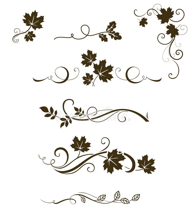 Vektoruppsättning av calligraphic beståndsdelar, avdelare och prydnader för höst med lönn-, ek- och rönnsidor vektor illustrationer