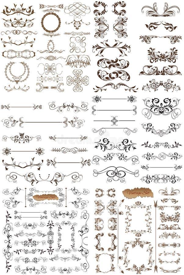 Vektoruppsättning av calligraphic beståndsdelar för design vektor illustrationer