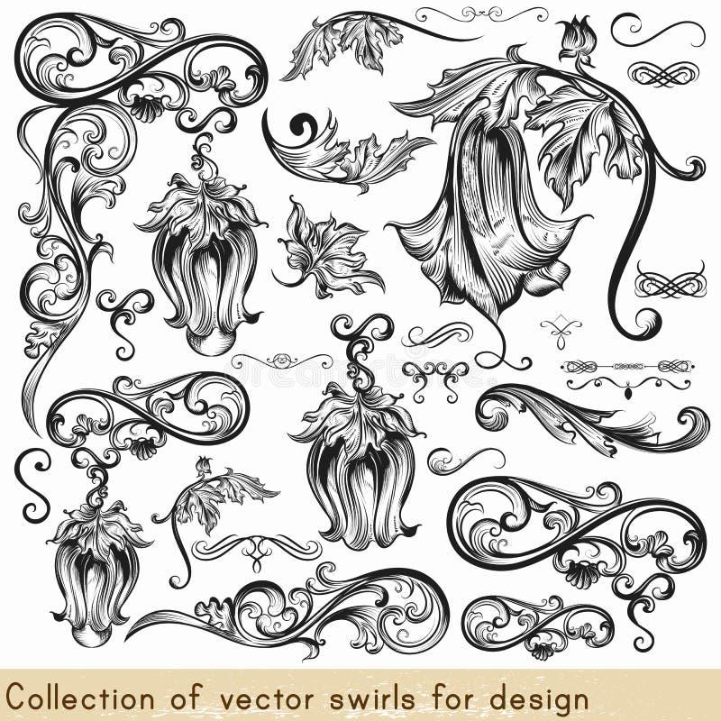 Vektoruppsättning av calligraphic beståndsdelar för design Calligraphic vec stock illustrationer