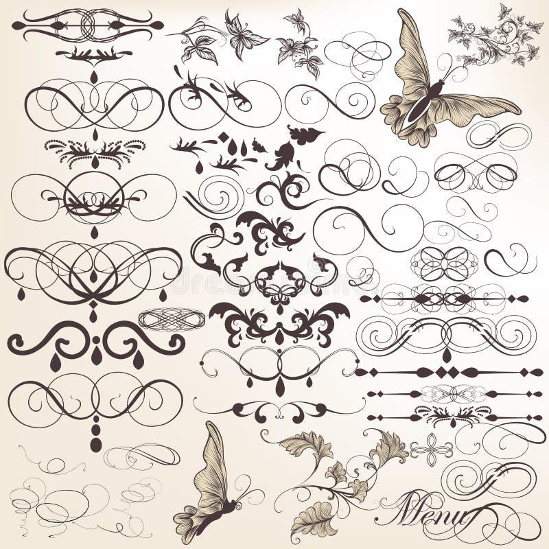 Vektoruppsättning av calligraphic designbeståndsdelar och sidagarneringar vektor illustrationer