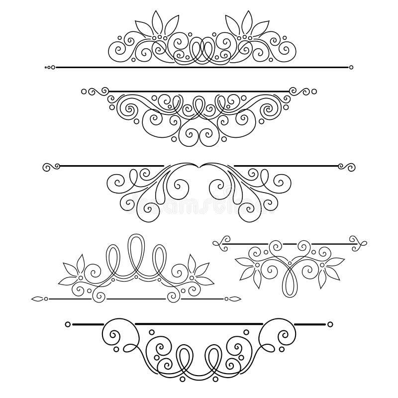 Vektoruppsättning av calligraphic designbeståndsdelar och sidagarneringar stock illustrationer