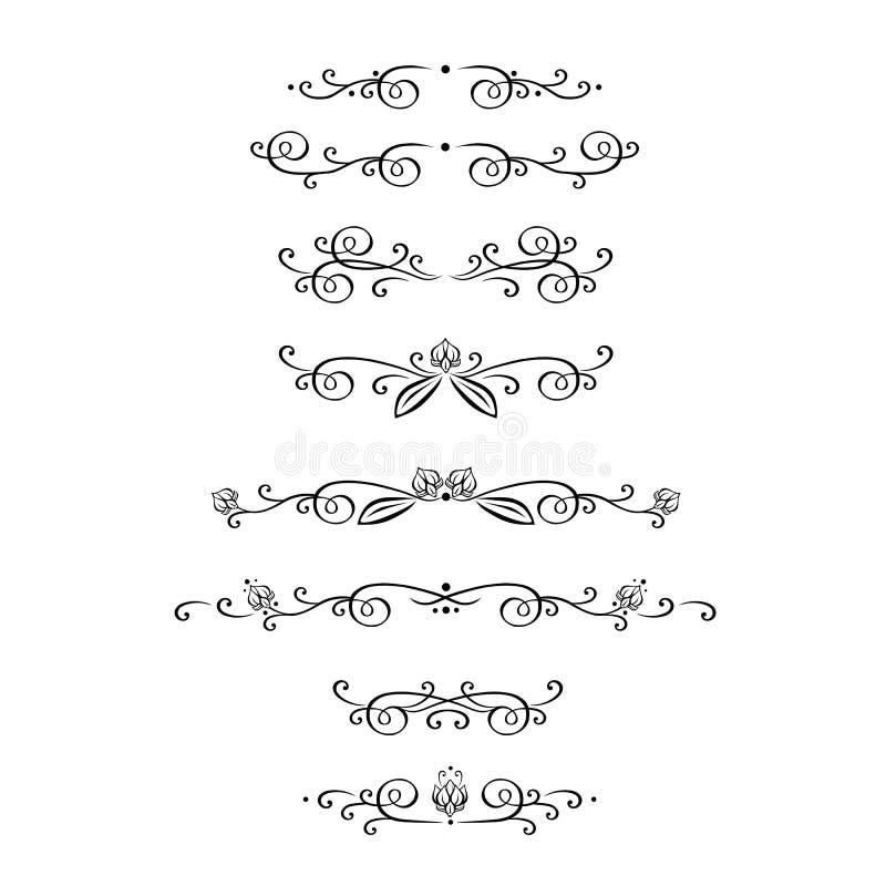 Vektoruppsättning av calligraphic designbeståndsdelar, sida royaltyfri illustrationer