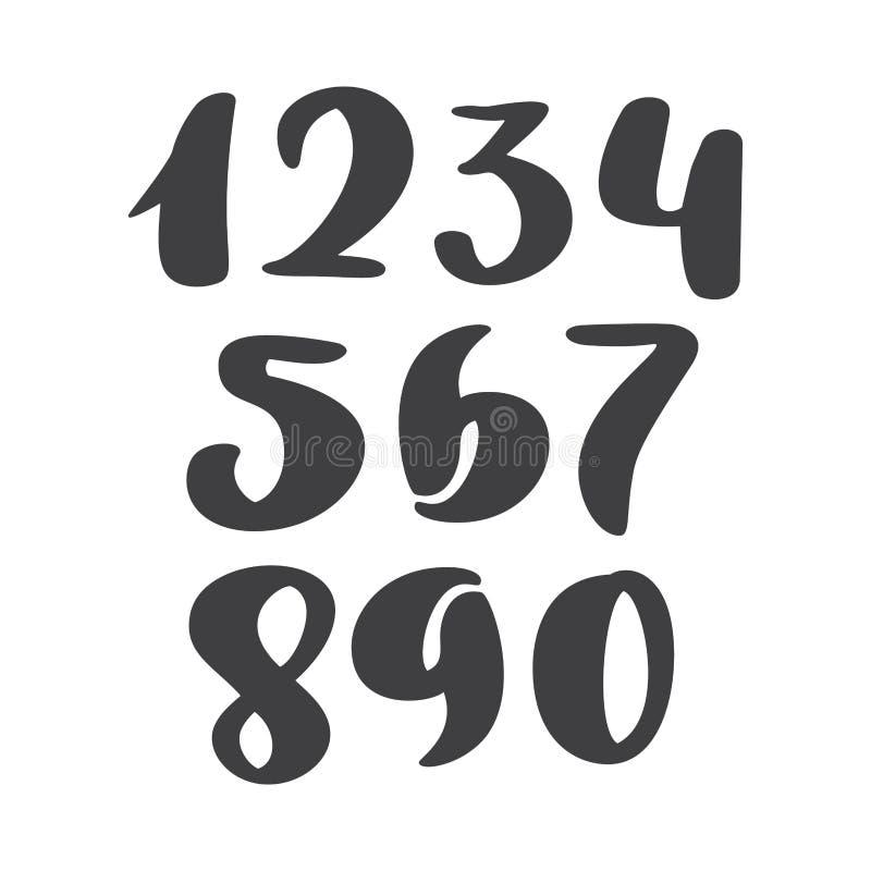 Vektoruppsättning av Calligraphic färgpulvernummer abc för din design, borstebokstäver, modernt kursivt för handskriven borstesti royaltyfri illustrationer
