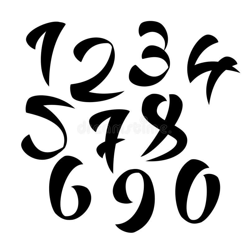Vektoruppsättning av Calligraphic färgpulvernummer bakgrundsdesignelement fyra vita snowflakes stock illustrationer