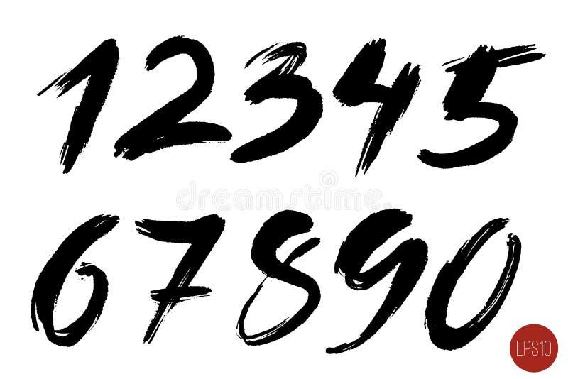Vektoruppsättning av Calligraphic färgpulvernummer Designbeståndsdelar, borstebokstäver stock illustrationer