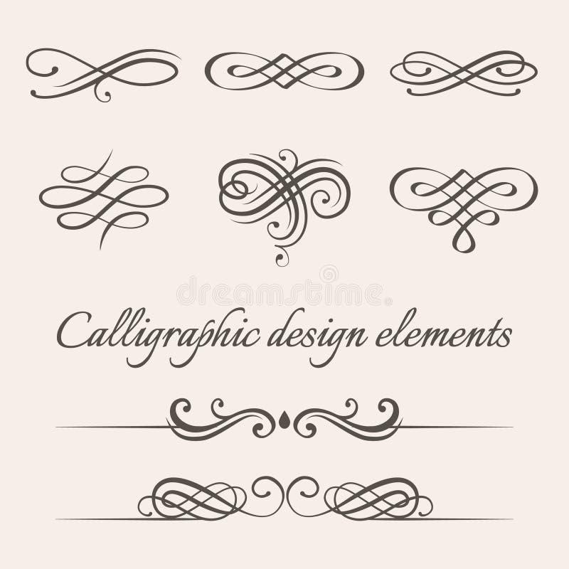 Vektoruppsättning av calligraphic och för sidagarneringdesign beståndsdelar stock illustrationer