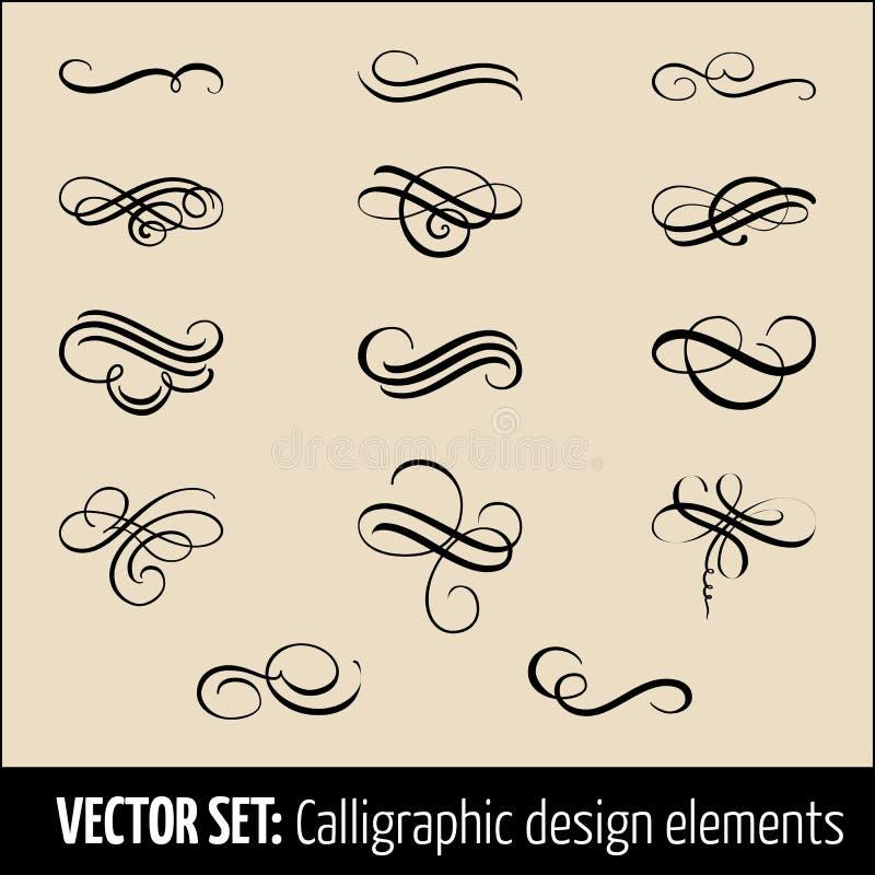 Vektoruppsättning av calligraphic och för sidagarneringdesign beståndsdelar Eleganta beståndsdelar för din design Modernt handskr stock illustrationer