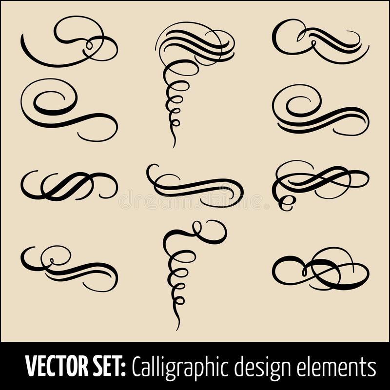 Vektoruppsättning av calligraphic och för sidagarneringdesign beståndsdelar Eleganta beståndsdelar för din design Modernt handskr vektor illustrationer