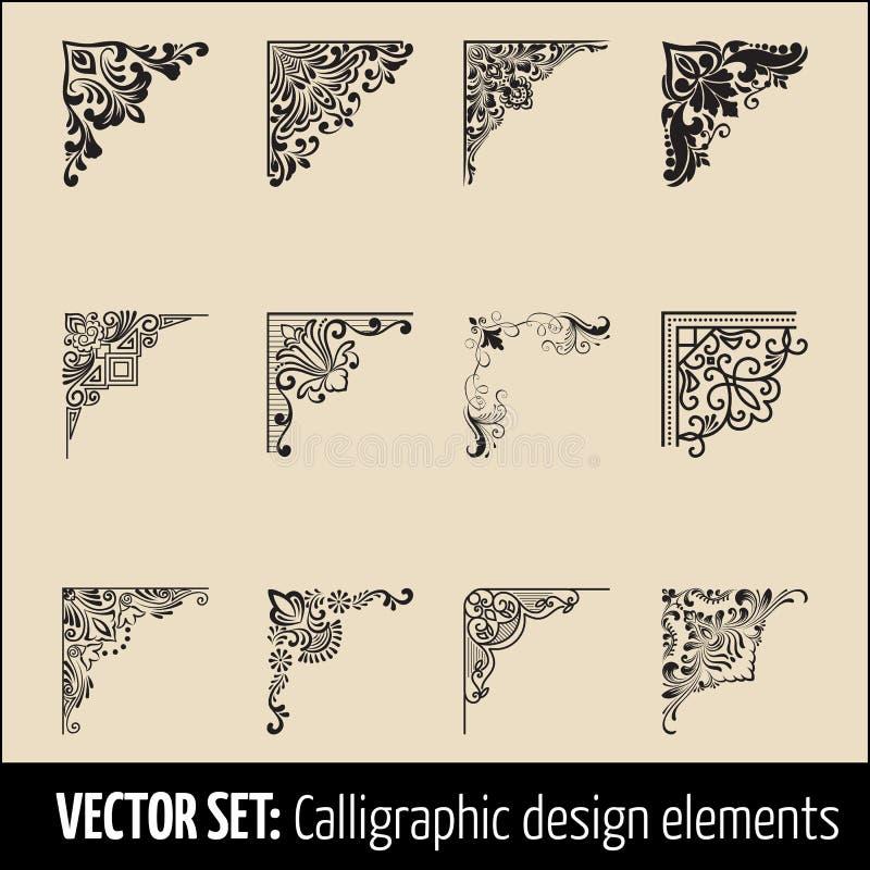 Vektoruppsättning av calligraphic och för sidagarneringhörn för design beståndsdelar Eleganta beståndsdelar för din design modern vektor illustrationer