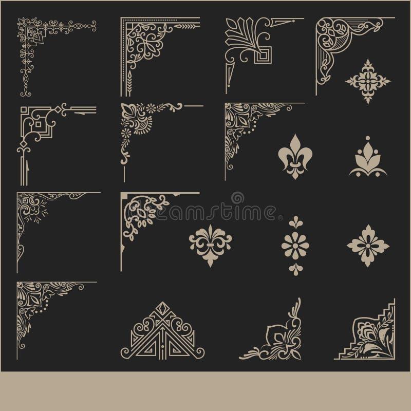 Vektoruppsättning av calligraphic och för sidagarneringhörn för design beståndsdelar Eleganta beståndsdelar för din design stock illustrationer