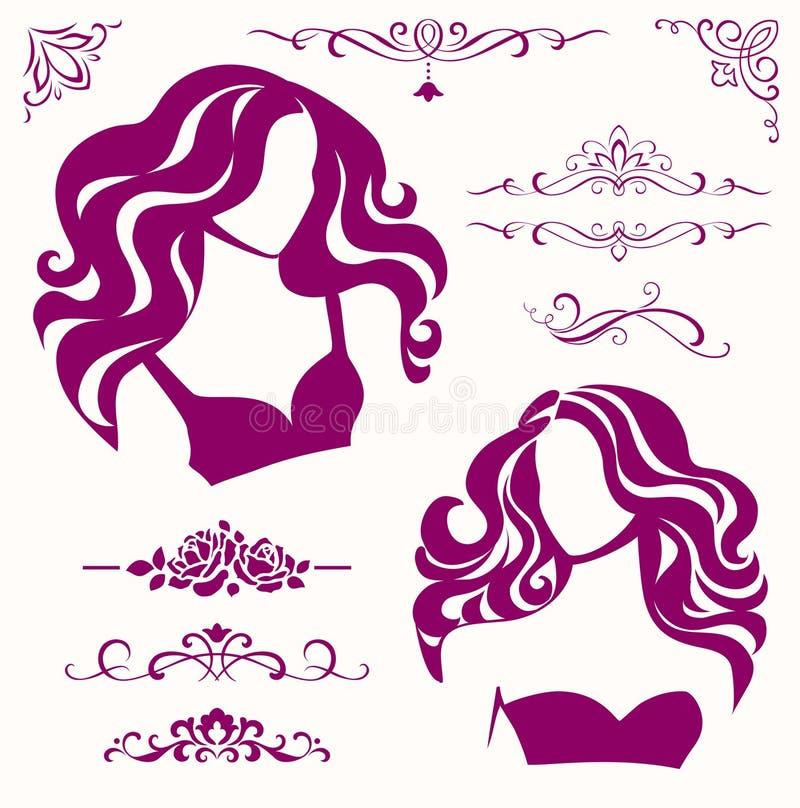 Vektoruppsättning av calligraphic skönhetbeståndsdelar och kvinnliga symboler stock illustrationer