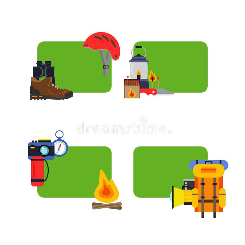 Vektoruppsättning av campa beståndsdelar för klistermärkear stock illustrationer