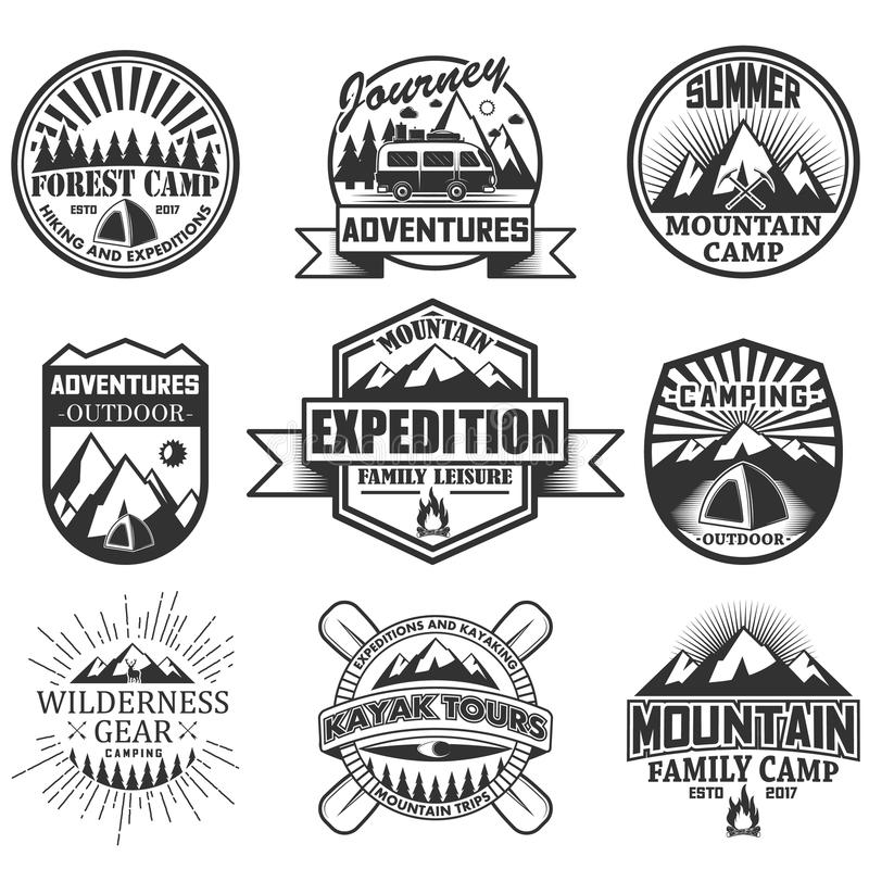 Vektoruppsättning av campa objekt som isoleras på vit bakgrund Loppsymboler och emblem Utomhus- etiketter för affärsföretag stock illustrationer