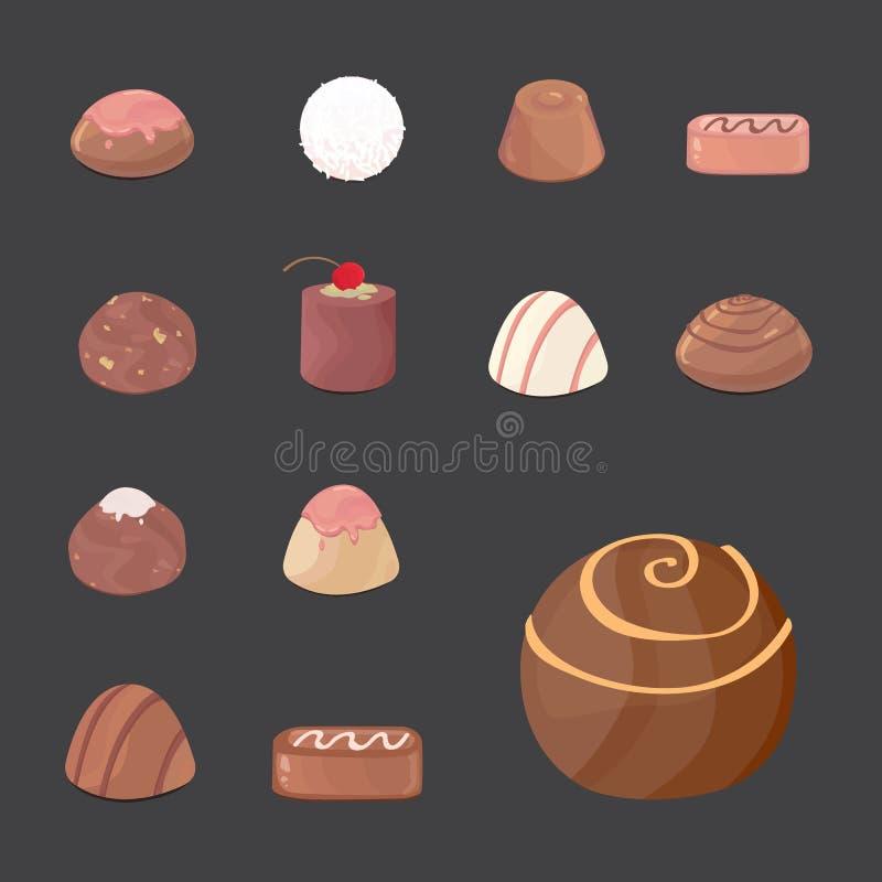 Vektoruppsättning av chokladgodisar tecknad filmillustartion på mörk bakgrund stock illustrationer
