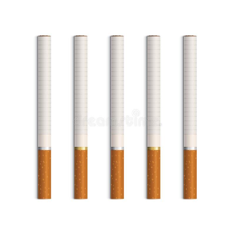 Vektoruppsättning av cigaretter som isoleras på vit vektor illustrationer